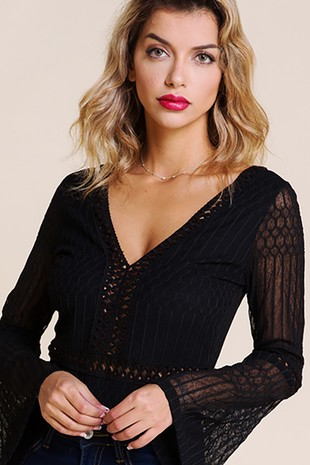 89d62b34092 DEEP V-NECK LACE BODYSUIT - BT2048 BL