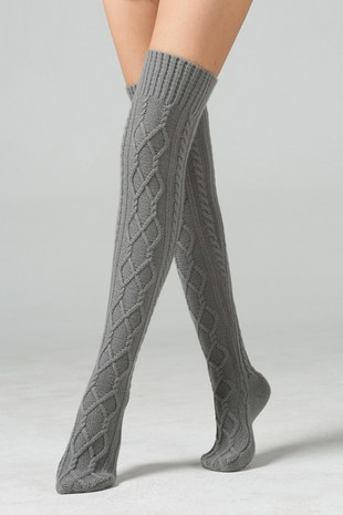 BASIC KNIT KNEE HIGH SOCKS-AC57019