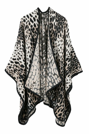 LEOPARD PRINTED DANDY SHAWL WRAP-AC33933
