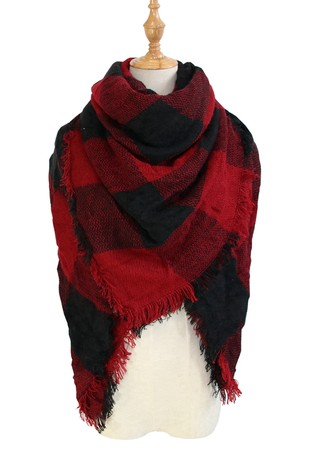 PLAID PATTERN TRENDY SHAWL WRAP-AC10833-N