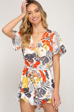 Short sleeve printed woven romper with waist tie
