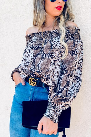 AM12114 (Animal Printed Smocking Off Shoulder)