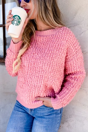 AM11123 (Pink Thread Textured Pullover Sweater)