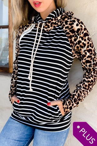AM12104PLUS (Leopard Stripe Printed Double Hoodie)
