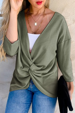 AM12100 (Olive Reversible Front Detail Knit Top)