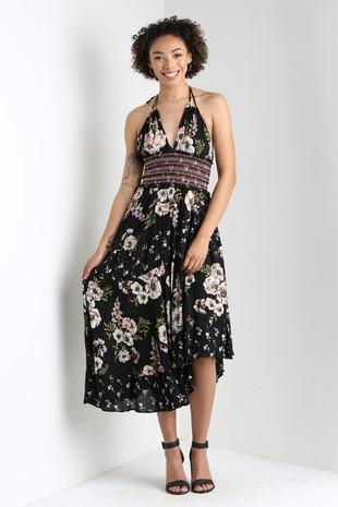 B4NN8-W690 HALTER DRESS WITH TIERED SKIRT