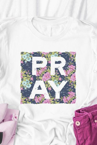 Pray Blue Floral White Graphic Top