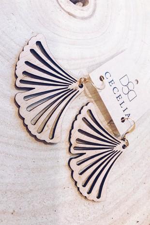 2534 Ginkgo Leaf Wooden Earrings