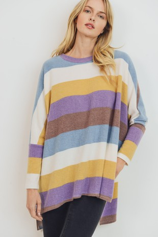 T22009 Brushed Wide Stripe Poncho Style Top
