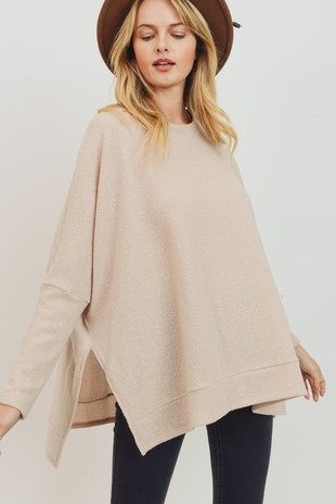 T22004 Brushed Two Tone Knit Side Slit Boxy Top
