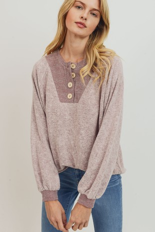 T22039 Balloon Sleeve Contrast Henley Top