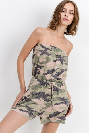 3873cf7ac81 D6808 Camo Print on French Terry Tube Romper