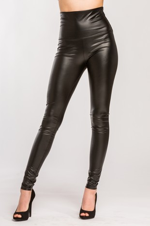 P2413 Faux Leather High Waist Pleather Leggings