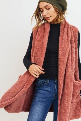 T21922 Faux Fur Sleeveless Hoodie Vest