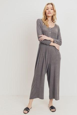 D6919 Brushed Knit Culotte Pants Jumpsuit