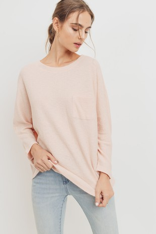 T22161 Textured Cotton Pocket Dolman Top