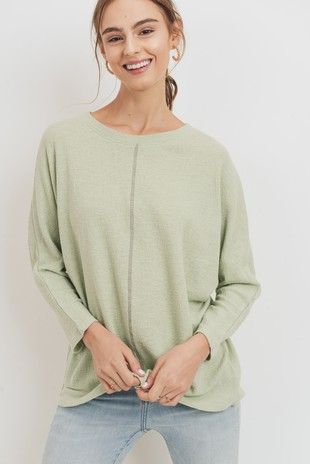 T22094 Textured Cotton Gauze Dolman Sleeve Top