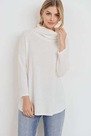 T22121 Textured Cotton Gauze Cowl Neck Top