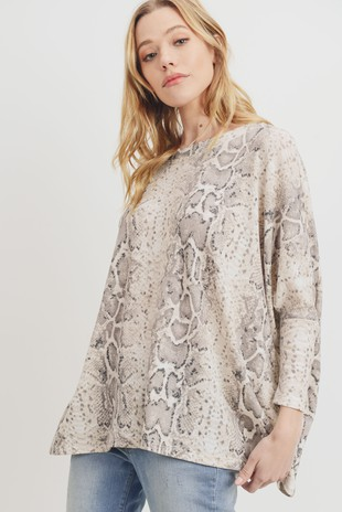 T22184 Snake Print Mini Thermal Oversized Top