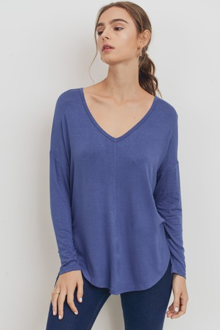 T22240 V-Neck Long Sleeve Knit Jersey Top