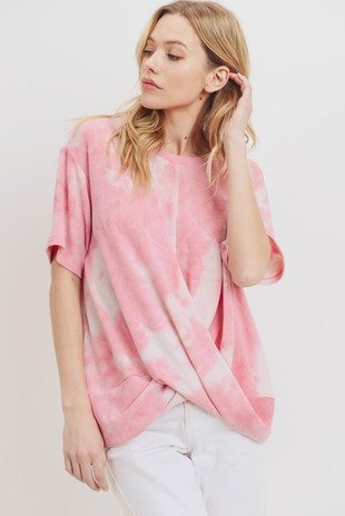 T22162 Front Twist Tie Dye French Terry Knit Top