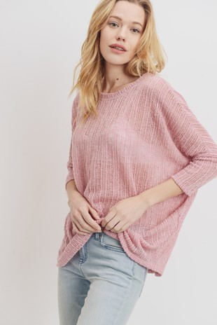 T21408 Round Neck Drop Shoulder Low Gauge Knit Top