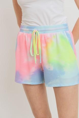 P2442 Rainbow Tie Dye Thermal Drawstring Shorts