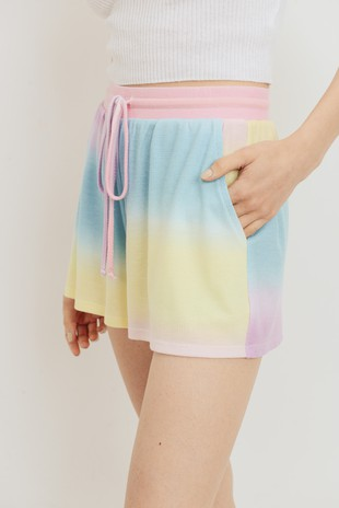 P2444 Tie Dye Mini Thermal Drawstring Shorts
