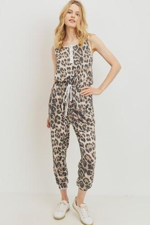 D6941 Leopard Henley Style Sleeveless Jumpsuit