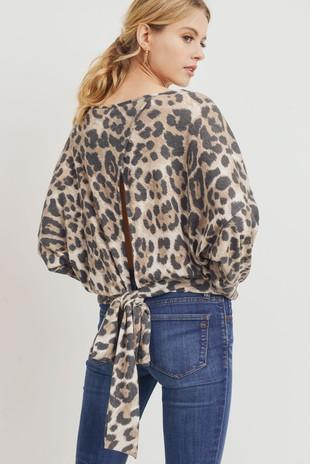 T22261 Leopard Print Tie Open Back Knit Top