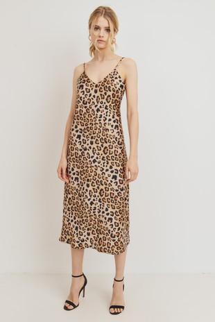 D6933 Leopard Print Spaghetti Strap Midi Dress