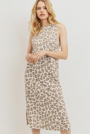 D6948 Leopard Print Sleeveless Midi Dress