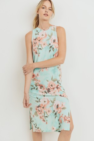 D6997 Floral French Terry Sleeveless Midi Dress