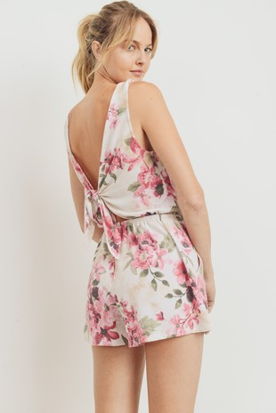 D6981 Open Back Floral Print French Terry Romper