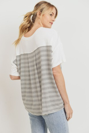 T22336 Contrast Striped French Terry Knit Top