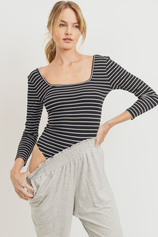 T22424 Striped Ribbed Knit Bodysuit Top