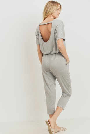 D7009 Short Sleeves Open Back Cropped Jumpsuit