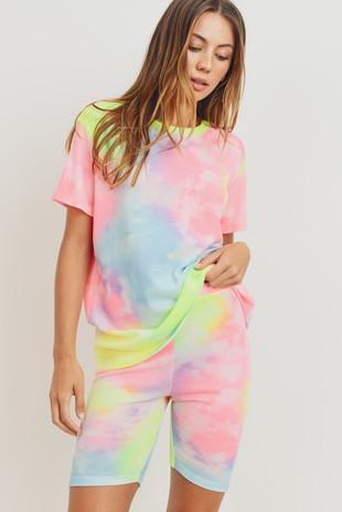 T22476 Rainbow Tie Dye Mini Thermal Knit Top