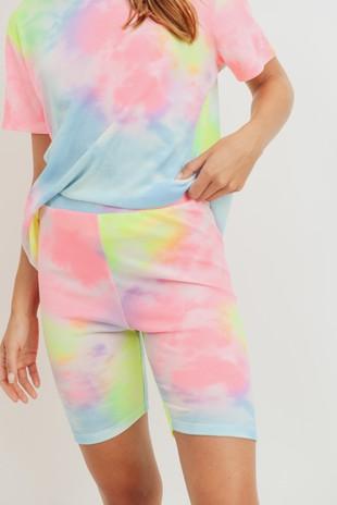P2489 Rainbow Tie Dye Mini Thermal Biker Shorts