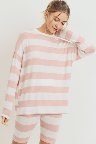 T22492 Basic Striped Brushed Long Sleeves Knit Top
