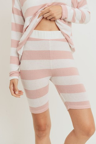 P2493 Basic Striped Brushed Knit Biker Shorts
