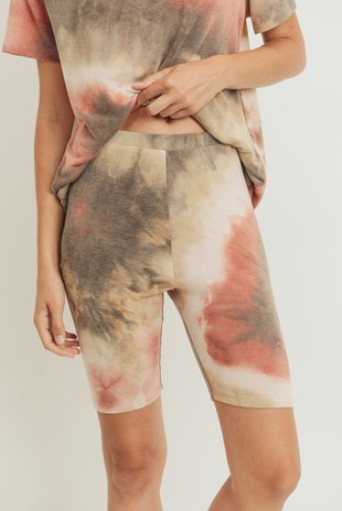 P2503 Tie Dye French Terry Knit Biker Shorts
