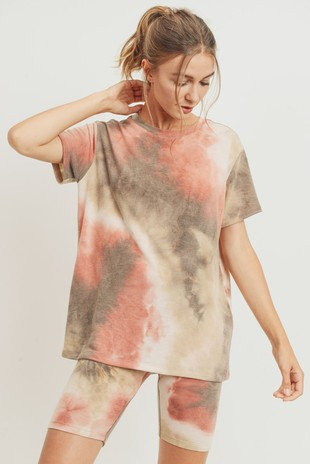 T22523 Tie Dye French Terry Knit Top