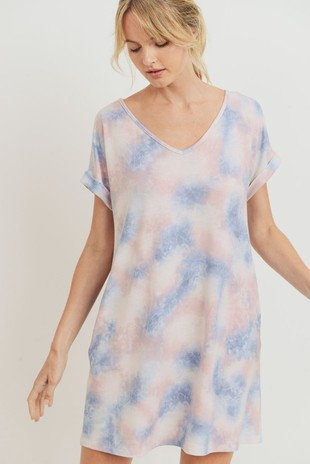D7011 Tie Dye French Terry V Neck Shift Dress