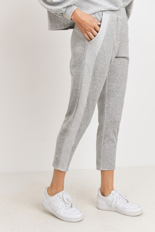 P2508 Velour Side Contrast Cropped Knit Joggers