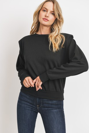 T22581 Long Sleeves Padded Shoulders Knit Top