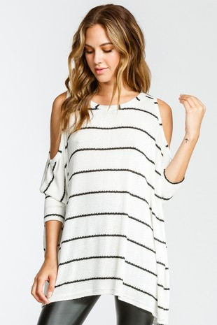 T19401 Stripe Cold Shoulder Stripe Boxy Knit Top