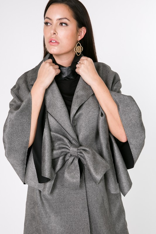 7507OW_charcoal front ribbon ruffle sleeve coat   ( by CQbyCQ )