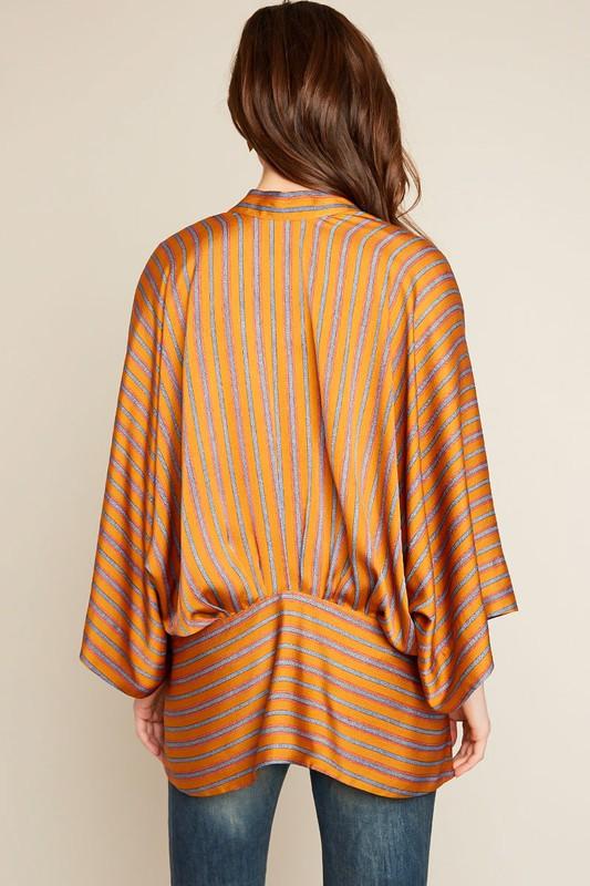 H5749 Striped Kimono Wrap Top  ( by Hayden Los Angeles )