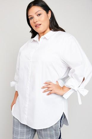 H5982W Plus Stripe Button-Down Collared Shirt